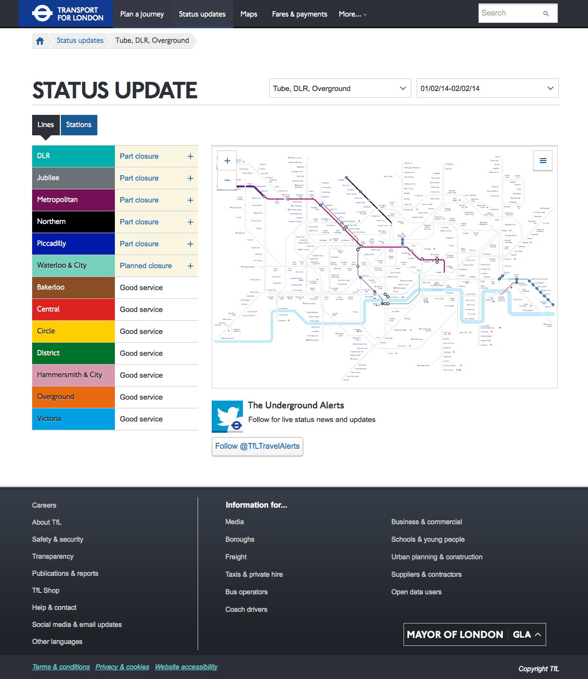 Tube status update and interactive map