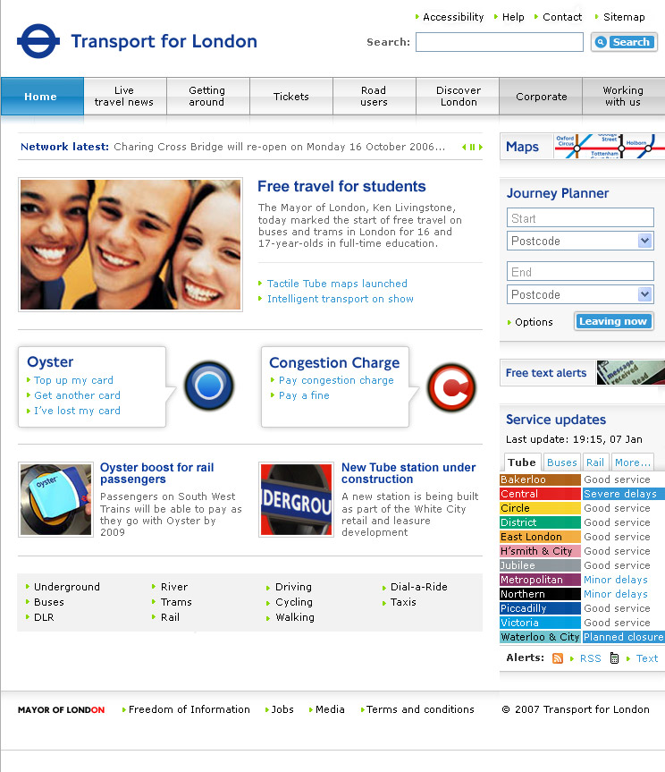 Transport for London, Web Design, TfL
