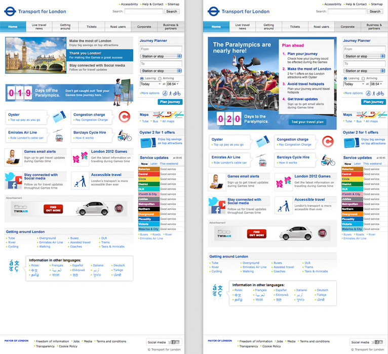 TfL, Web Design, Olympics