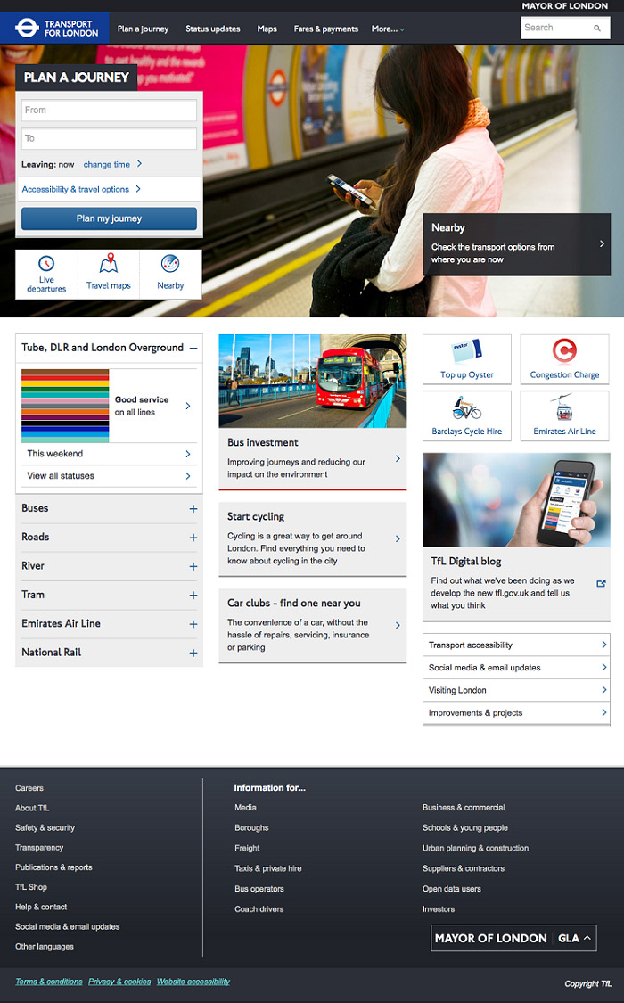 TfL, Web Design, beta