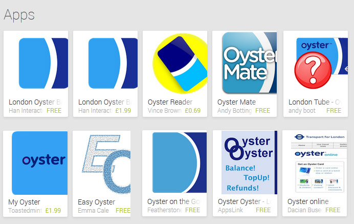 Oyster, TfL, apps