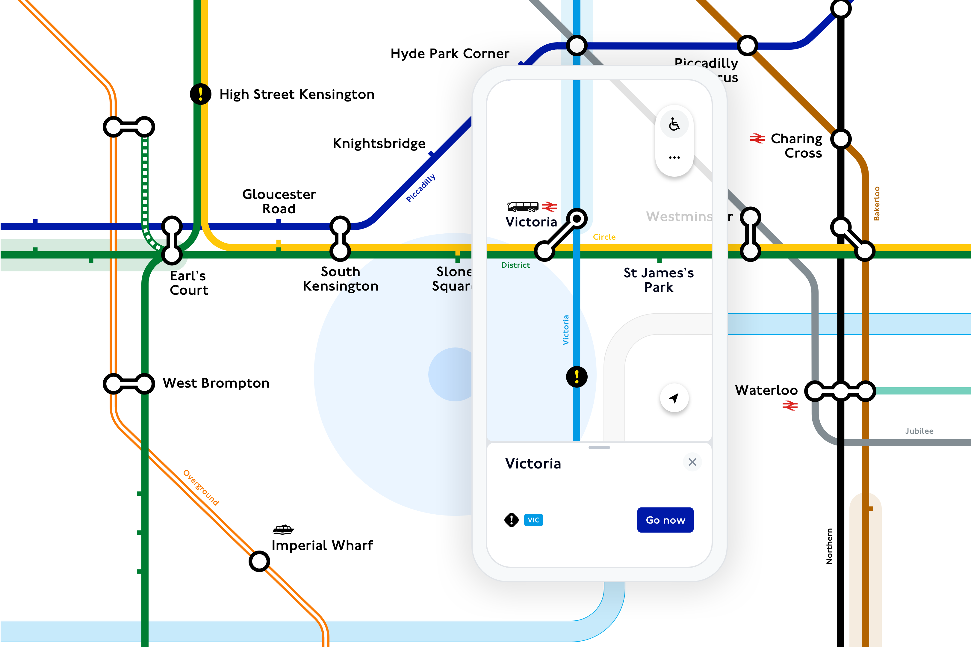 An image of the live, digital Tube map in TfL Go